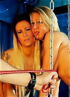 Two blondes humiliated by lash