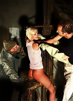 Blonde babe in whipping fire