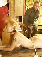 70 Strokes with the cane on this cute girl's naked buttocks