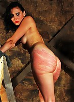 Tied up for whipping torture