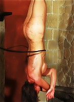 Hanged upside down and lashed