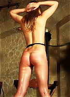 Horny blonde in whipping fire