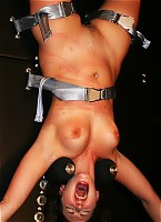 Punished slave on torture wheel
