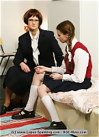 2 schoolgirls need an extra lesson with the cane