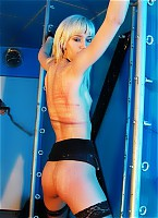 Hot blonde is tied and lashed