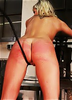 Blonde worker in whipping fire